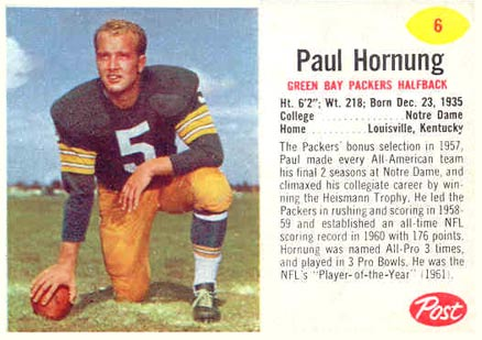 1962 Post Cereal Paul Hornung #6 Football Card