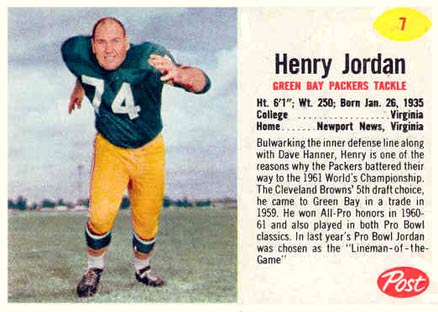 1962 Post Cereal Henry Jordan #7 Football Card