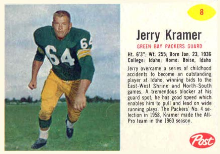 1962 Post Cereal Jerry Kramer #8 Football Card