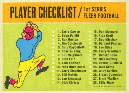 1963 Fleer   #Check Football Card