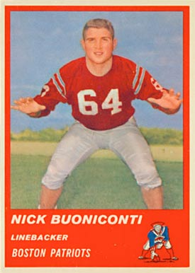 1963 Fleer Nick Buoniconti #10 Football Card