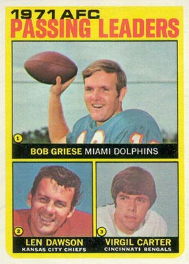 1972 Topps AFC Passing Leaders #3 Football Card