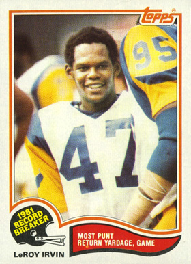 1982 Topps Leroy Irvin #3 Football Card