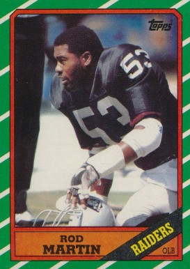 1986 Topps Rod Martin #71 Football Card