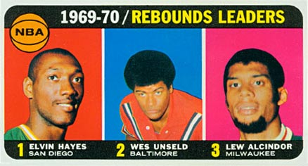 1970 Topps NBA Rebounds Leaders #5 Basketball Card