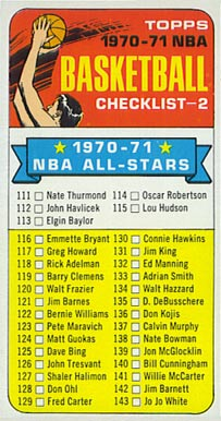 1970 Topps   #101 Basketball Card