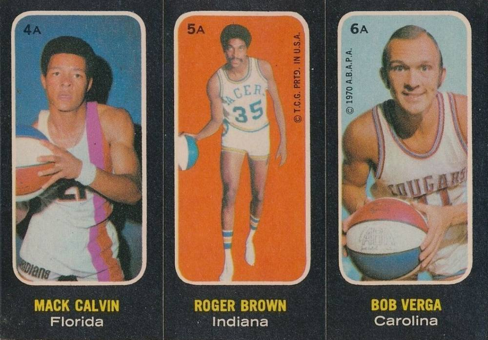 1971 Topps Stickers Calvin/Brown/Verga #4a Basketball Card