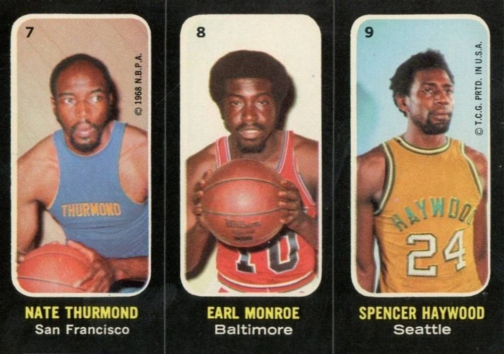 1971 Topps Stickers Thurmond/Monroe/Haywood #7 Basketball Card