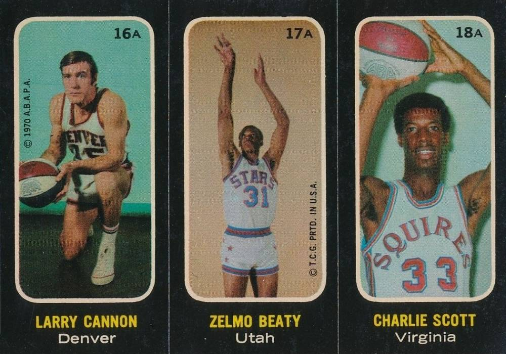 1971 Topps Stickers Cannon/Beaty/Scott #16a Basketball Card