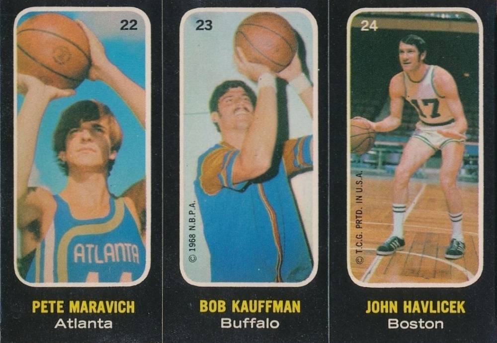 1971 Topps Trios Stickers Maravich/Kauffman/Havlicek #22 Basketball Card