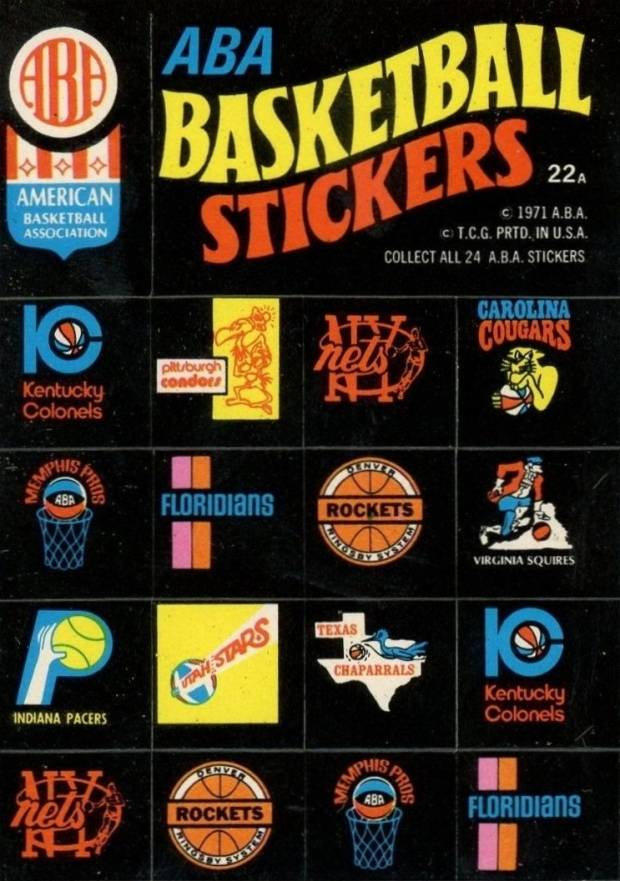 1971 Topps Stickers ABA Team Logo Stickers #22a Basketball Card