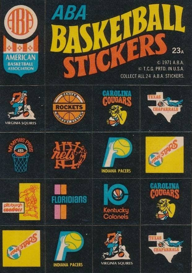 1971 Topps Stickers ABA Team Logo Stickers #23a Basketball Card