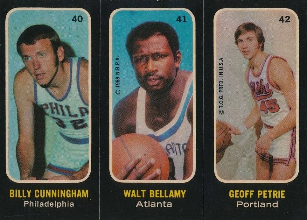 1971 Topps Stickers Cunningham/Bellamy/Petrie #40 Basketball Card