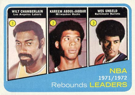 1972 Topps NBA Rebound Leaders #175 Basketball Card