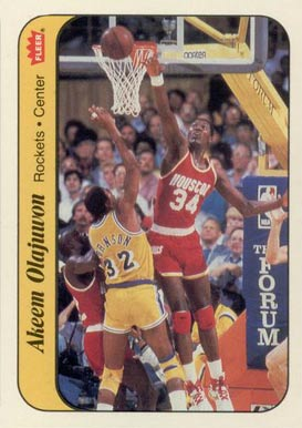 1986 Fleer Sticker Akeem Olajuwon #9 Basketball Card