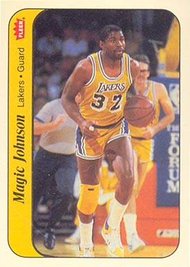 1986 Fleer Sticker Magic Johnson #7 Basketball Card