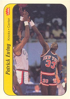 1986 Fleer Sticker Patrick Ewing #6 Basketball Card
