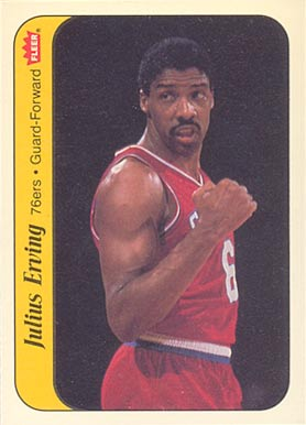 1986 Fleer Sticker Julius Erving #5 Basketball Card
