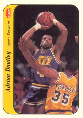 1986 Fleer Sticker Adrian Dantley #3 Basketball Card