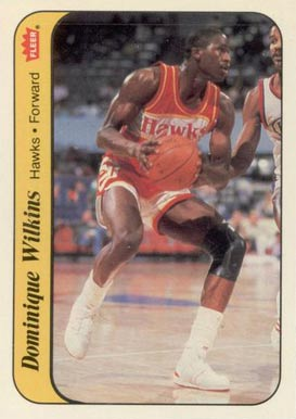 1986 Fleer Sticker Dominique Wilkins #11 Basketball Card