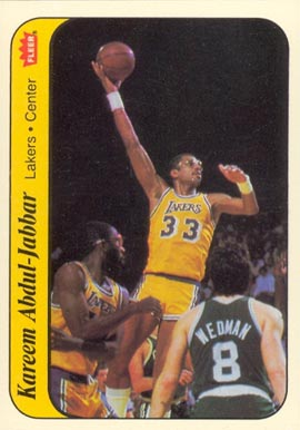 1986 Fleer Sticker Kareem Abdul Jabbar #1 Basketball Card