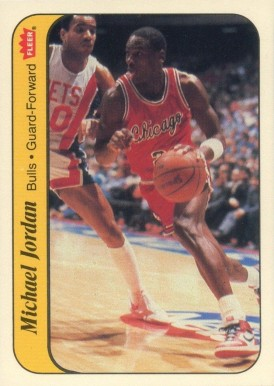 1986 Fleer Sticker Michael Jordan #8 Basketball Card