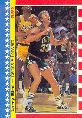 1987 Fleer Sticker Larry Bird #4 Basketball Card