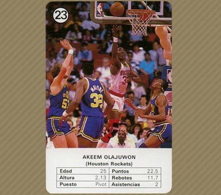 1988 Fournier Estrellas Akeem Olajuwon #23 Basketball Card