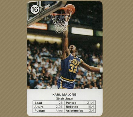1988 Fournier Estrellas Karl Malone #16 Basketball Card