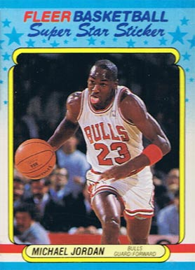 1988 Fleer Sticker Michael Jordan #7 Basketball Card