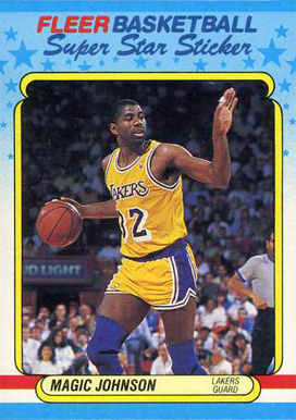 1988 Fleer Sticker Magic Johnson #6 Basketball Card