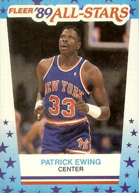 1989 Fleer Sticker Patrick Ewing #7 Basketball Card