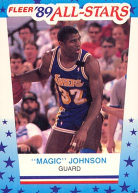 1989 Fleer Sticker Magic Johnson #5 Basketball Card