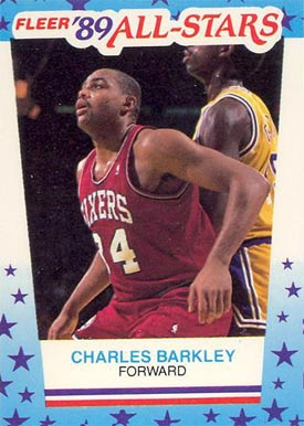 1989 Fleer Sticker Charles Barkley #4 Basketball Card