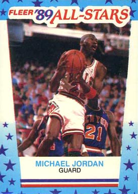 1989 Fleer Sticker Michael Jordan #3 Basketball Card
