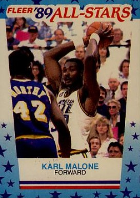 1989 Fleer Sticker Karl Malone #1 Basketball Card
