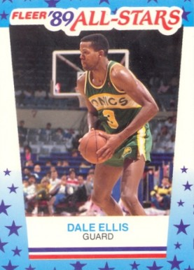 1989 Fleer Sticker Dale Ellis #8 Basketball Card