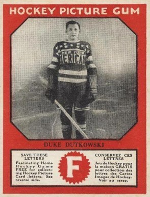 1933-34 Canadian Gum Duke Dutkowski #20 Hockey Card