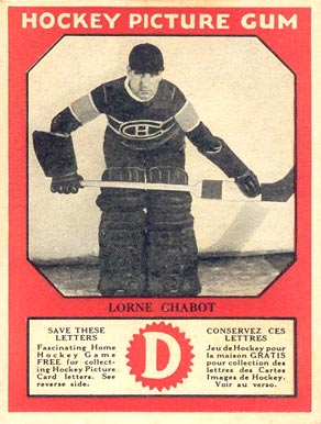 1933-34 Canadian Gum Lorne Chabot #9 Hockey Card