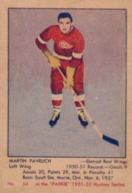 1951 Parkhurst Marty Pavelich #54 Hockey Card