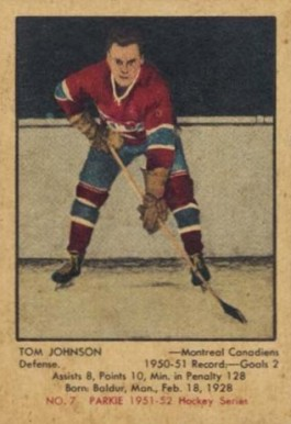 1951 Parkhurst Tom Johnson #7 Hockey Card