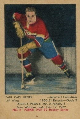 1951 Parkhurst Paul Meger #2 Hockey Card