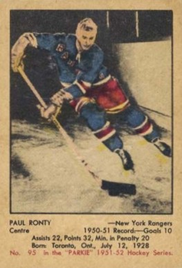 1951 Parkhurst Paul Ronty #95 Hockey Card