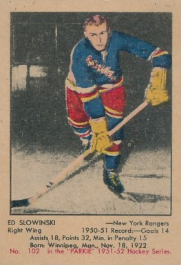1951 Parkhurst Ed Slowinski #102 Hockey Card