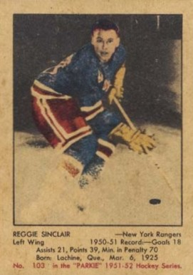 1951 Parkhurst Reg Sinclair #103 Hockey Card