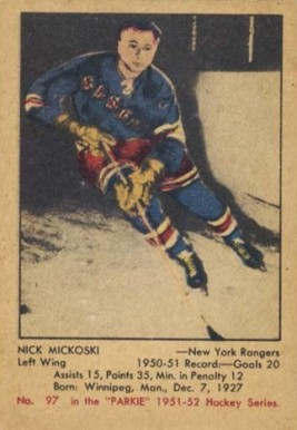 1951 Parkhurst Nick Mickoski #97 Hockey Card