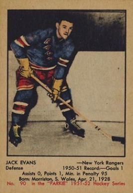 1951 Parkhurst Jack Evans #90 Hockey Card