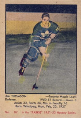 1951 Parkhurst Jim Thomson #82 Hockey Card