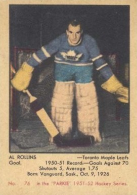 1951 Parkhurst Al Rollins #76 Hockey Card