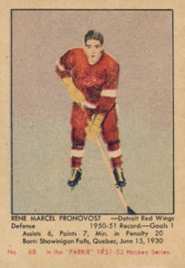 1951 Parkhurst Marcel Pronovost #68 Hockey Card